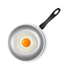 realistic 3d fried egg on a silver non vector image