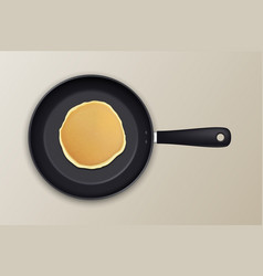 Realistic pancake in the frying pan icon closeup vector