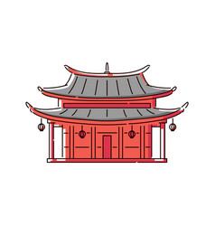 red chinese pagoda house icon - traditional vector image