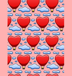 Red sky lantern among blue clouds seamless pattern vector