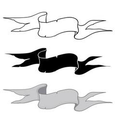 ribbon banner hand drawn sketch outline black vector image