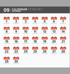 september calendar icons set date and time 2018 vector image