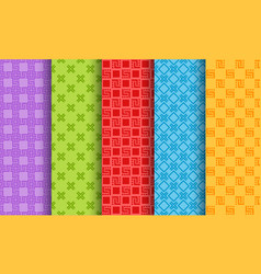 set bright different seamless patterns vector image