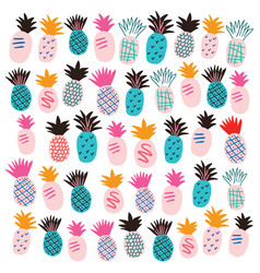 set colorful abstract pineapples on white vector image