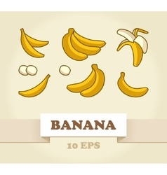 Set of Cartoon Yellow Bananas vector