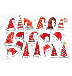 set of doodle christmas hats on vintage paper vector image