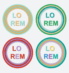 set of round colorful torn paper frames with vector image