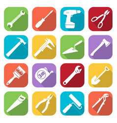 Set of sixteen tools flat style icons vector