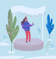 singer performs on stage in winter park vector image