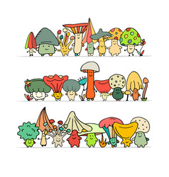 smiling mushrooms sketch for your design vector image