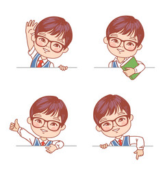 smiling smart asian student boy hold blank banner vector image