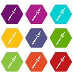 Spear battle icons set 9 vector