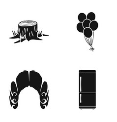 stump balloons and other web icon in black style vector image