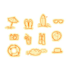 summer beach objects stickers stickers set vector image