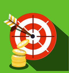 target icon with dollar coins vector image