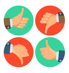 thumbs up down icons business hands vector image