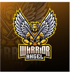 warrior angel mascot logo design vector image