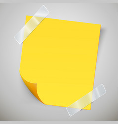 Yellow sticky note with the curled corner and vector