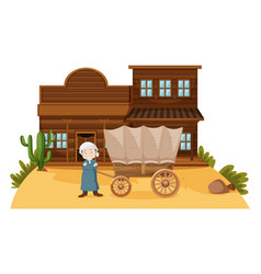 arab man stands in western town vector image