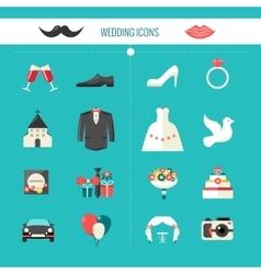 Color Decorative Wedding Icons vector image