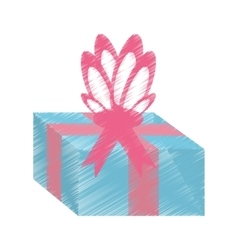 drawing gift box pink ribbon surprise vector image vector image