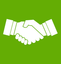 handshake icon green vector image vector image
