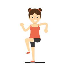 happy girl in sportswear doing sport exercise vector image vector image