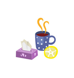 hot drink with lemon napkins set isolated vector image vector image