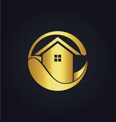 house eco icon gold logo vector image vector image
