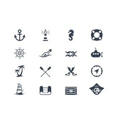 Marine and nautical icons vector image vector image