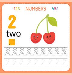 numbers tracing worksheet for preschool and vector image