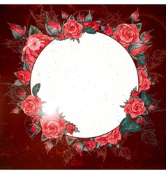 Romantic Vintage Rose Frame vector image vector image