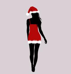 santa woman silhouette vector image vector image