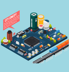 semiconductor electronic components isometric city vector image
