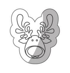 sticker silhouette cartoon funny face reindeer vector image