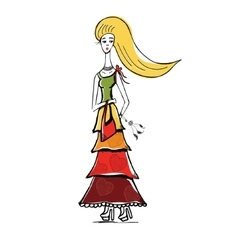 The blonde girl in gypsy dress with bag Linear vector image vector image