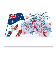 Australia flag and firework on white background vector image vector image