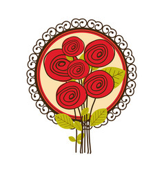 colorful set of roses with decorative circular vector image vector image