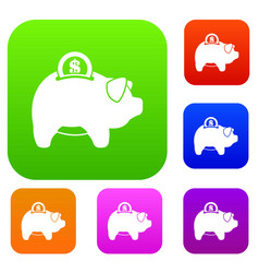pig money box set collection vector image vector image