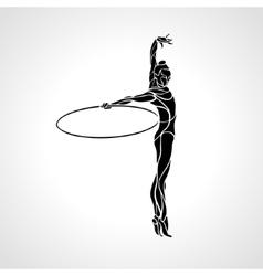Rhythmic Gymnastics with Hoop Silhouette vector image