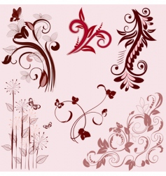 set of abstract floral patterns vector image