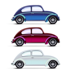 Set of multicolored Old cars vector image