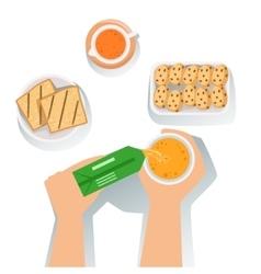 Toasts Juice And Cookies Set Of Classic Breakfast vector image vector image