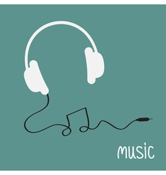 White headphones with black cord in shape of note vector image vector image