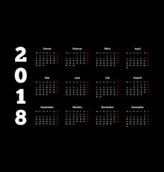 2018 year simple white calendar on german language vector image