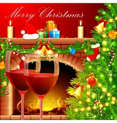 Christmas Decoration with Wine Glass vector image vector image