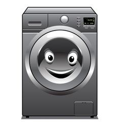 Cute silver washing machine with a happy face vector image vector image