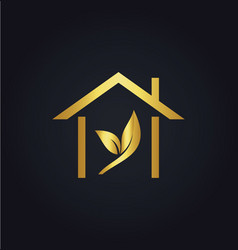 house gold leaf logo vector image