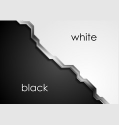 black and white abstract background with metallic vector image vector image
