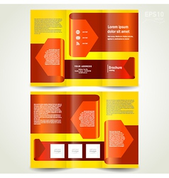 brochure design template leaflet red arrow ribbon vector image vector image